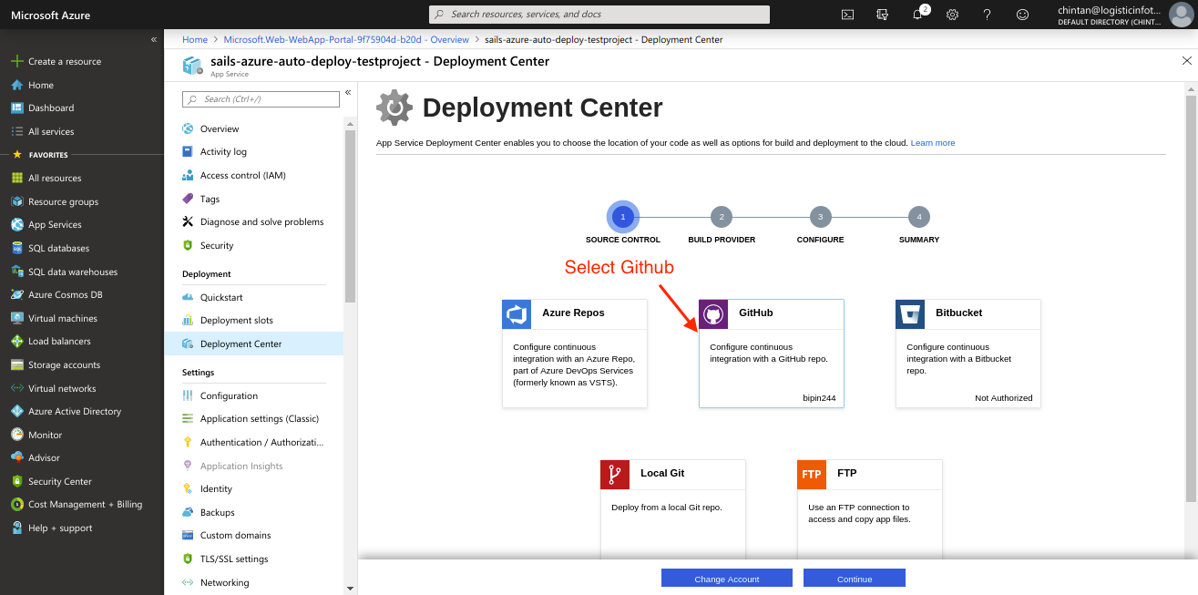 Azure Deployment Centre Github Connection